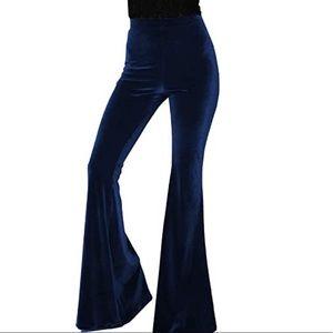 Midnight blue velvet bell bottoms pants flared NWT
